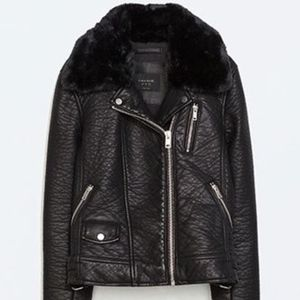 Zara Faux Leather Jacket with Fur Collar